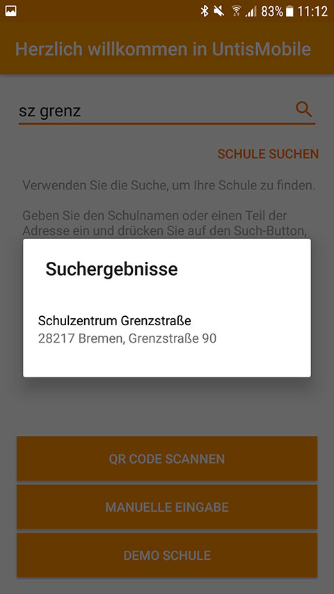 Screenshot UntisMobile Suche