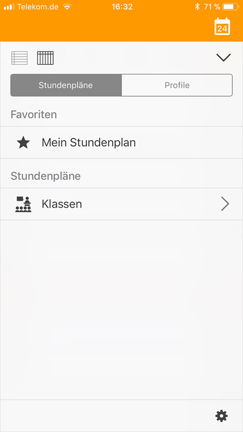 Screenshot UntisMobile Favoriten
